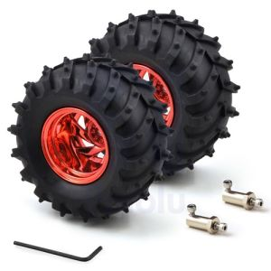Ruote in gomma 120x60mm per Monster Truck con mozzi da 4mm – colore Rosso metallizzato (coppia)