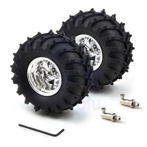 Ruote in gomma 120x60mm Monster Truck - mozzi da 4mm - Cromato (coppia)
