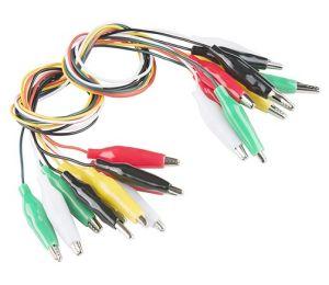 Cavi multicolore per test con morsetti a coccodrillo (conf. da 10 cavi)