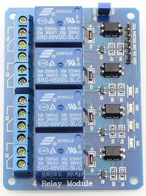 Schemi Elettrici Rele : Modulo relè 4 canali dc 5v per arduino e raspberry pi